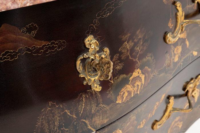commode louis xv bronze doré entrée de serrure clé
