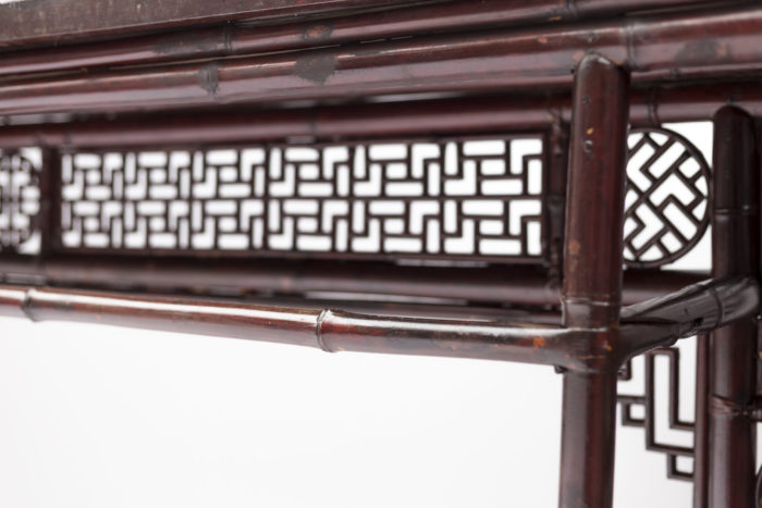 console chinoise rouge dos détail