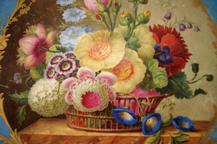 corbeille de fleurs plateau guéridon