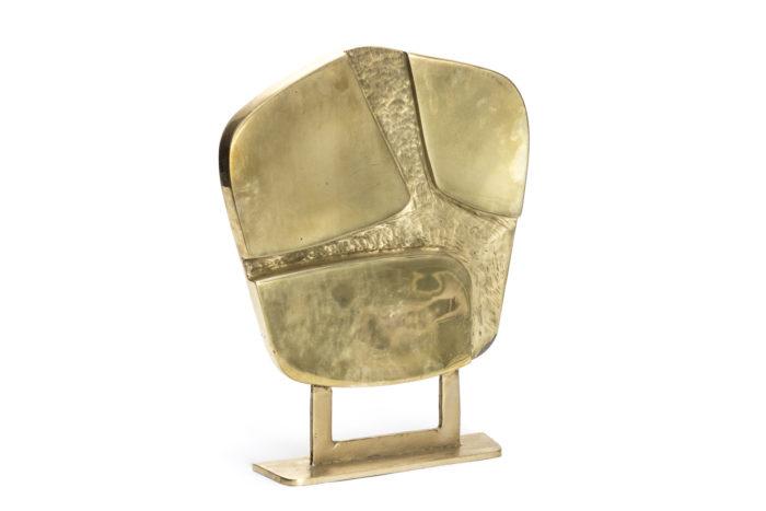 culpture bronze doré forme abstraite pentagonale