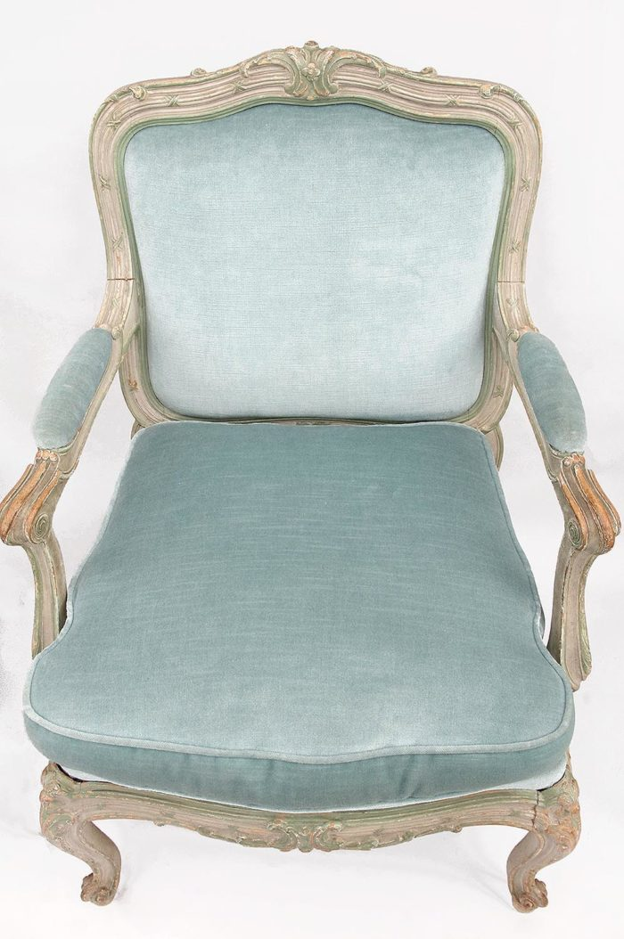fauteuil chassis louis xv garniture velours