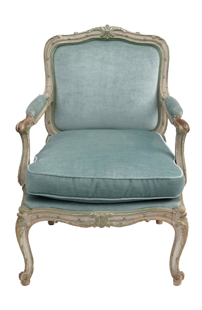fauteuil chassis louis xv velours face