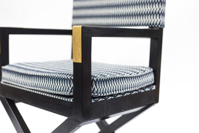 fauteuil ployant laqué noir accotoir doré
