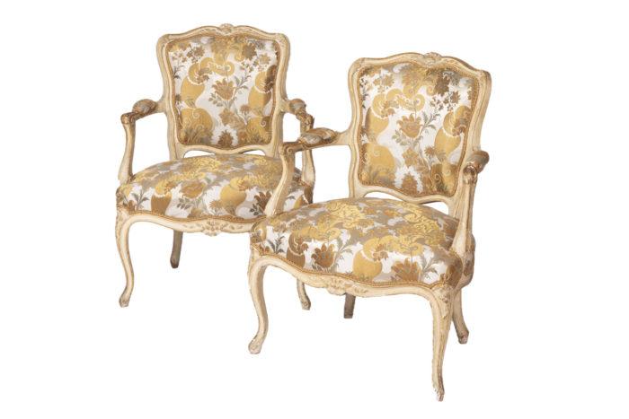 fauteuils cabriolet rubelli laqués crème prcpl