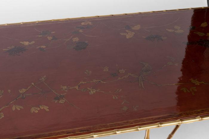 grande table basse laque rouge plateau