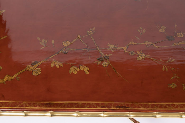 grande table basse laque rouge plateau branchages