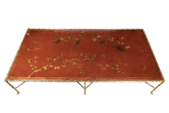 grande table basse laque rouge plateau dessus
