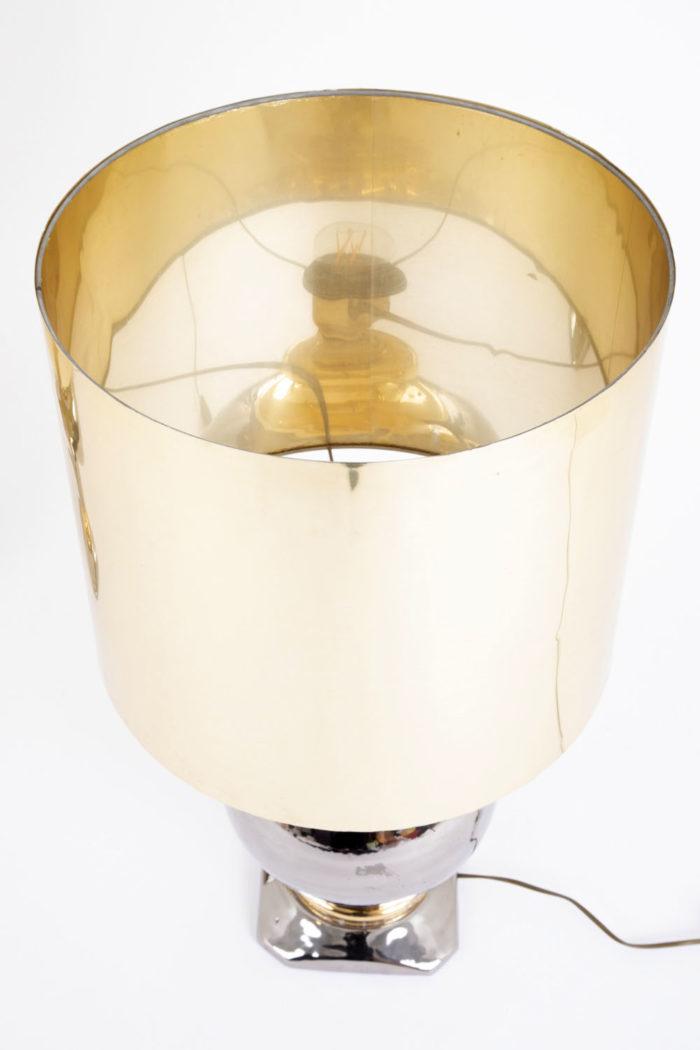 lampe porcelaine argent et or abat-jour doré