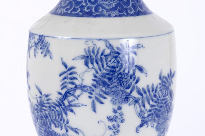 lampe porcelaine japon panse feuillages fleurs