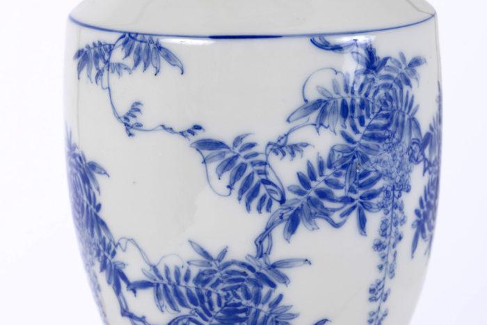 lampe porcelaine japon zoom fleurs feuillages