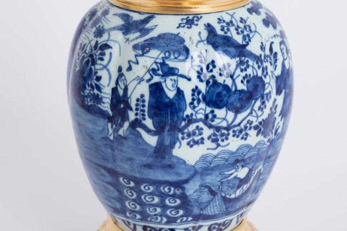 lampe vase faience delft scene chasse et pêche