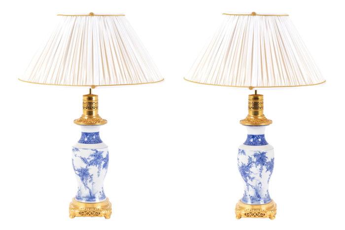 lampes porcelaine japon bleu blanc prcpl