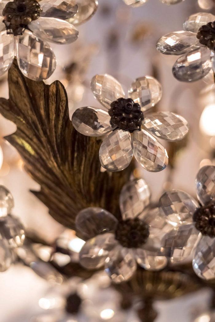 capodimonte porcelain chandelier gilt brass structure crystal