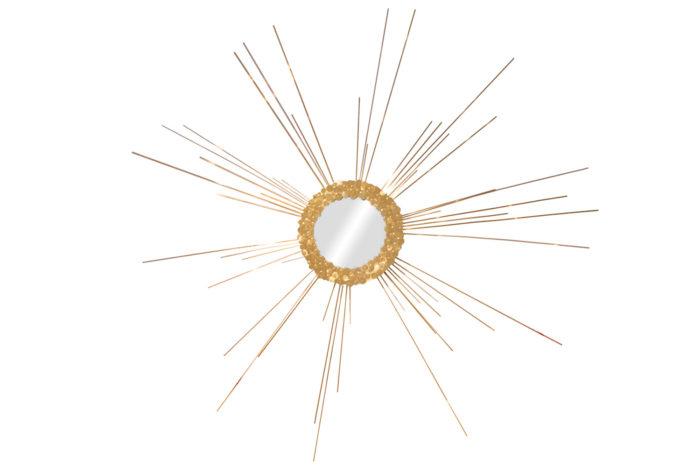 miroir détail laiton doré soleil pcple fond blanc