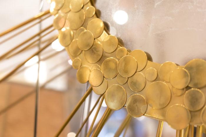 miroir soleil laiton doré pastille branches