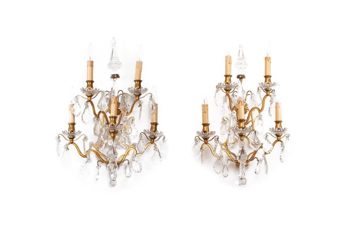 pair gilt bronze crystal tassels wall sconces