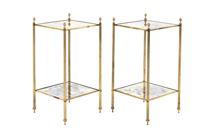 pair of gilt brass square end tables