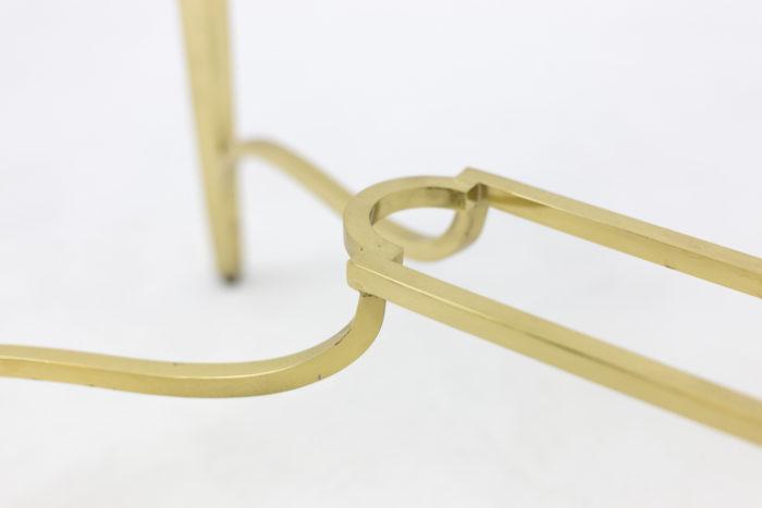 paire consoles laiton doré entretoise cartouche