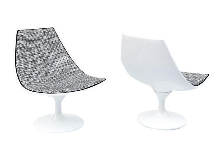 paire fauteuils blanc pied tulipe 70s prcpl