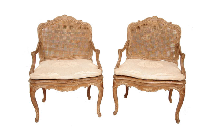 pair canned armchairs louis xv