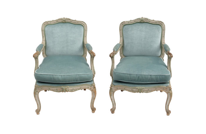 pair of louis xv style armchairs à chassis face prcpl