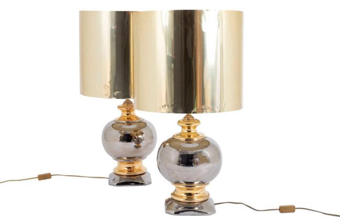 paire lampes porcelaine or argent corp boule