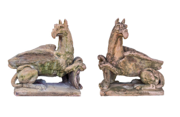 pair griffins sculptures in terracotta style stone
