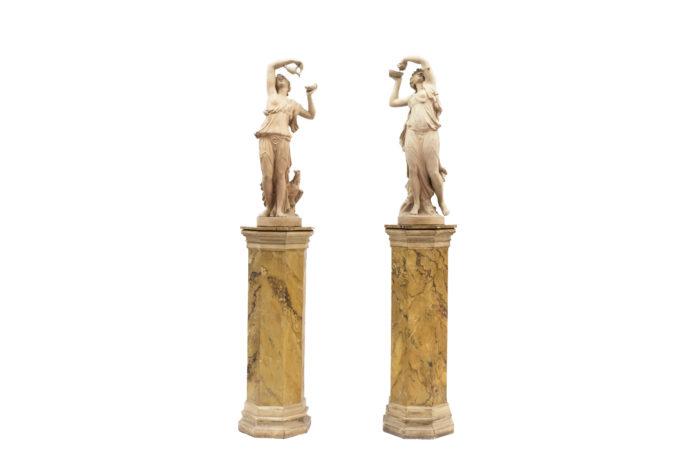 paire sculptures nymphes céramique prcpl