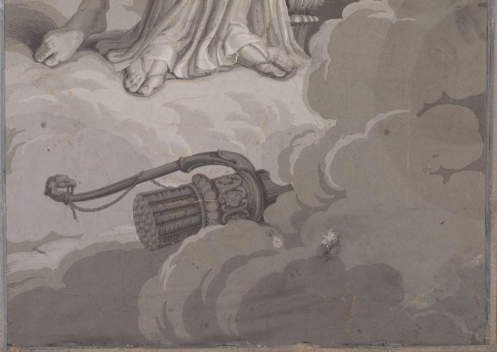 papier peint dufour arc flèches détail