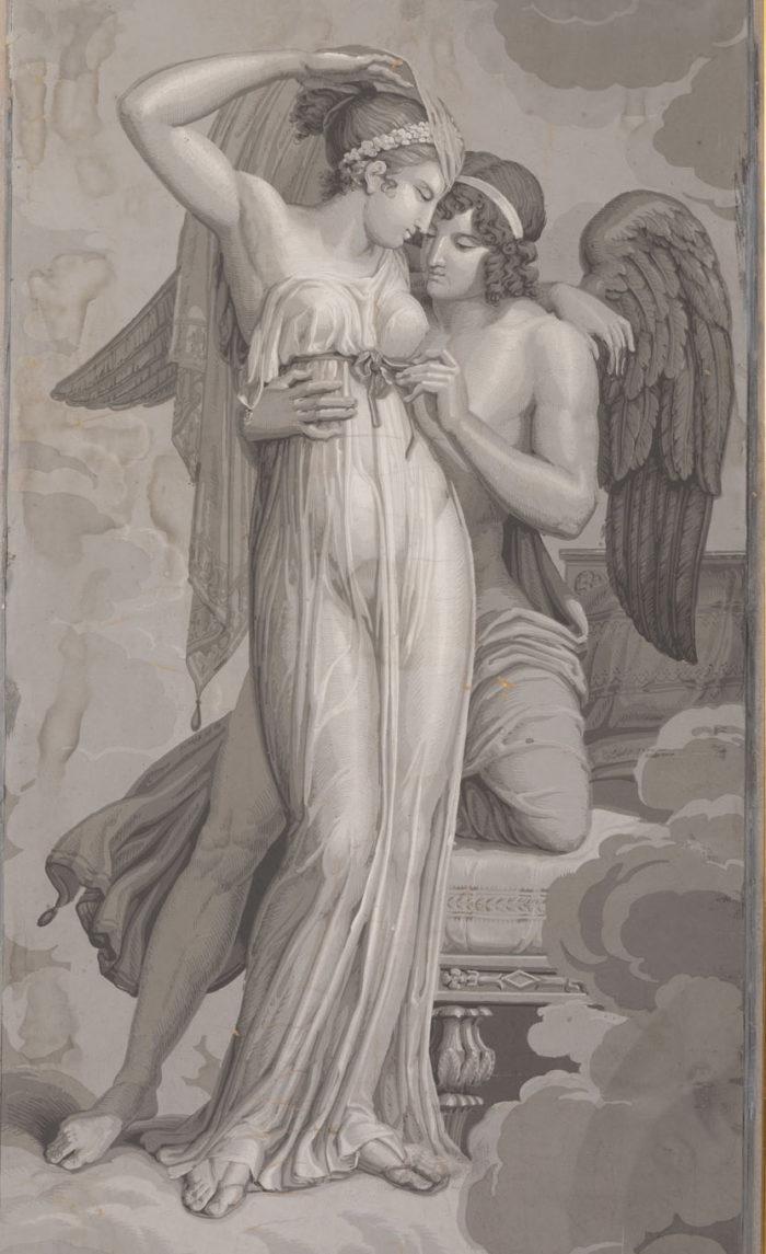 papier peint dufour psyché et cupidon