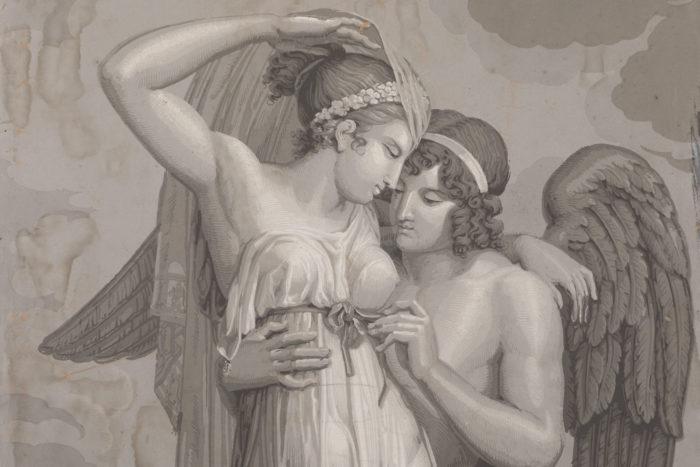papier peint dufour psyché et cupidon détail