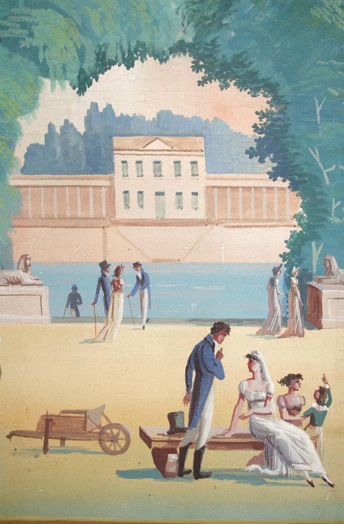 paravent directoire scène jardin antique couple enfants