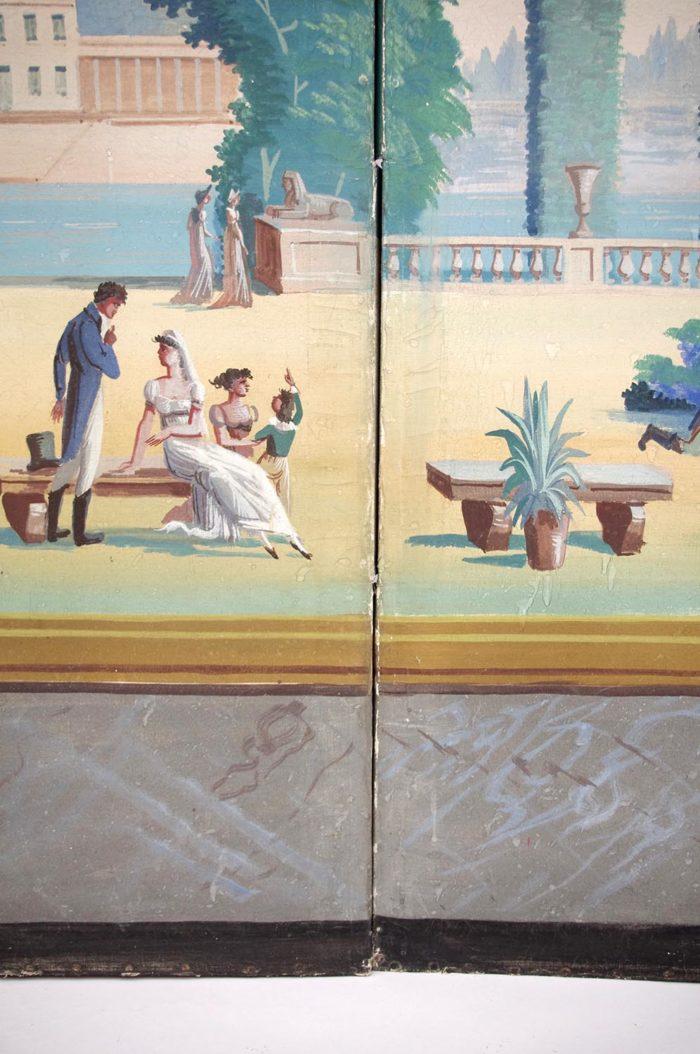 paravent directoire scène jardin antique encadrement