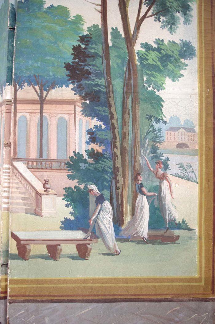 paravent directoire scène jardin antique femmes