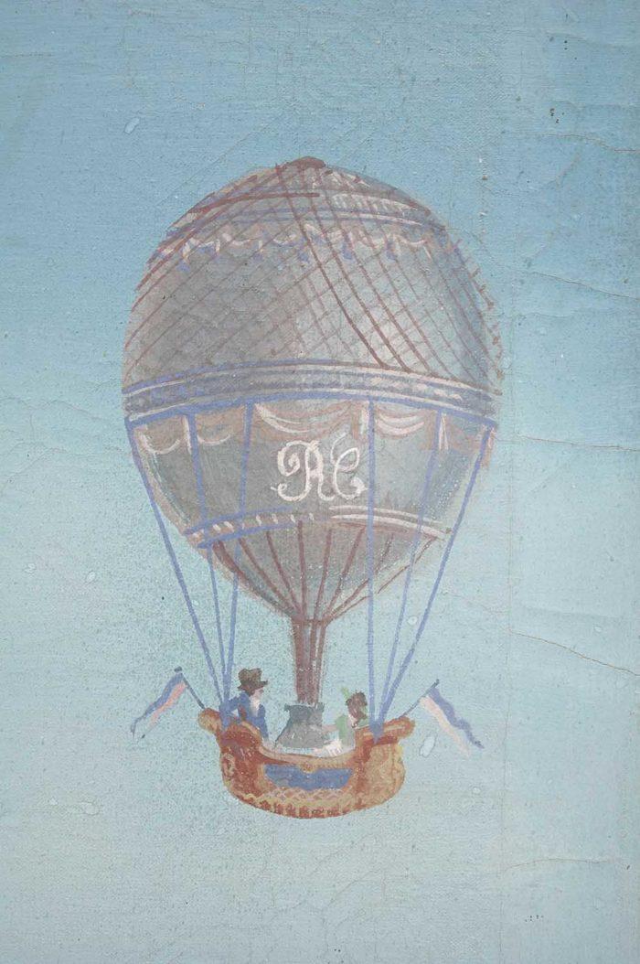 paravent directoire scène jardin antique montgolfière