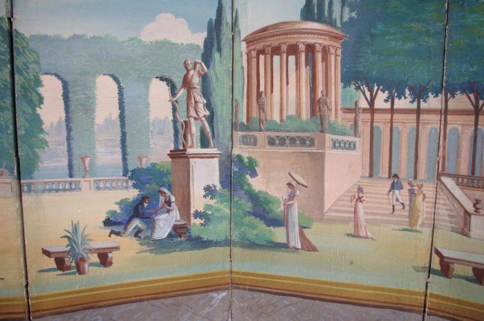 paravent directoire scène jardin antique scène centrale