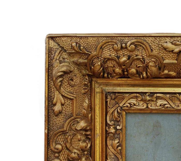 peinture militaire cadre sculpté doré