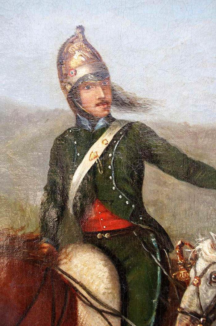 peinture militaire officier cavalier détail