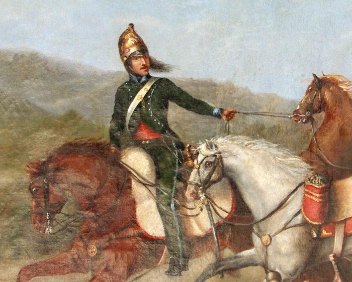 peinture militaire officier cheval