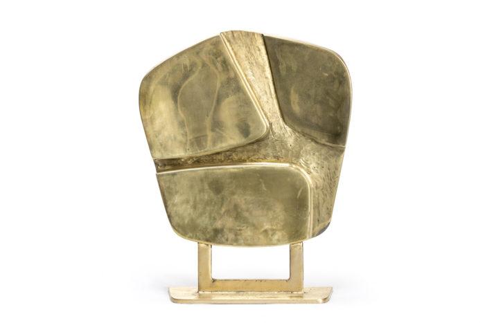 sculpture bronze doré poli forme abstraite