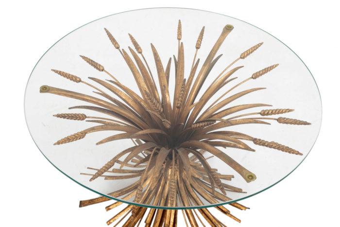 table épis de blé dorée plateau verre
