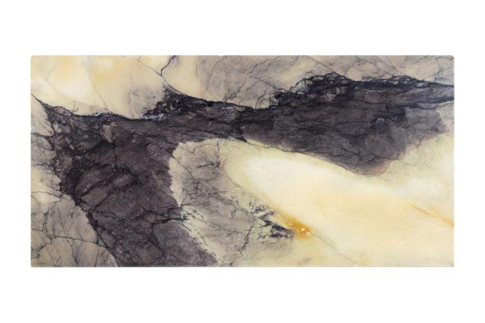 table marbre jaune et gris plateau