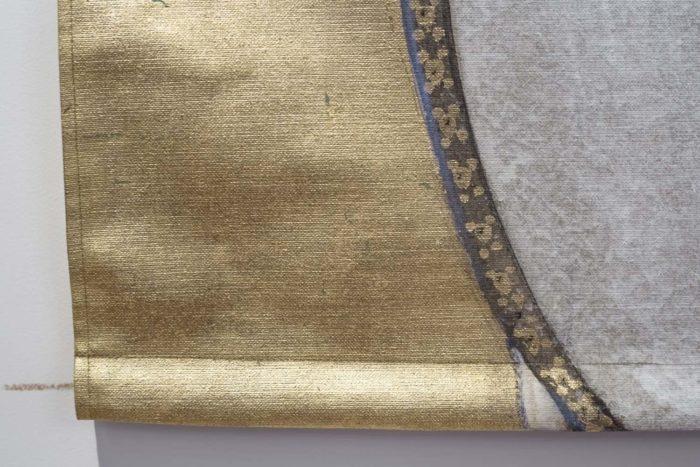 toile cheval fond doré feuille de cuivre