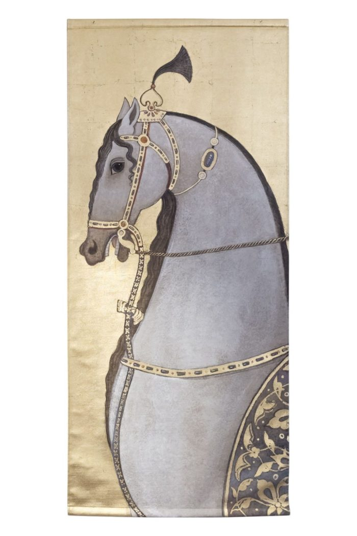 toile cheval pur sang arabe gris