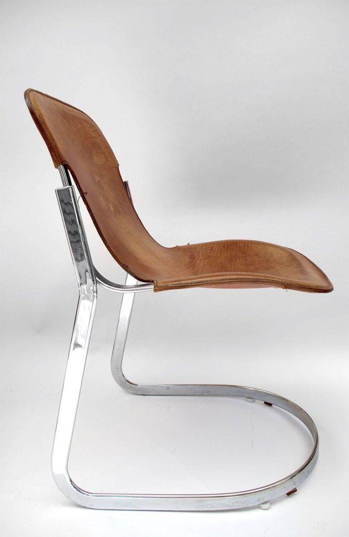 willy rizzo chaises cuir métal côté 2