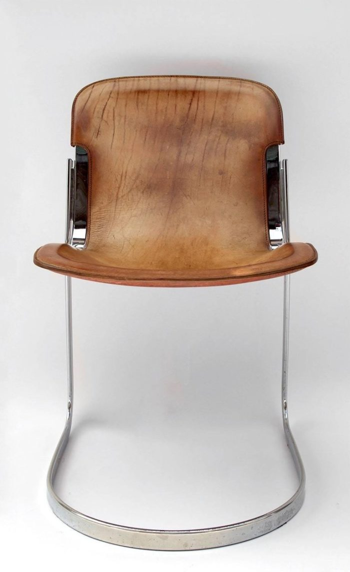 willy rizzo chaises cuir métal face