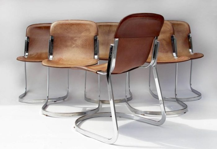 willy rizzo chaises cuir métal six