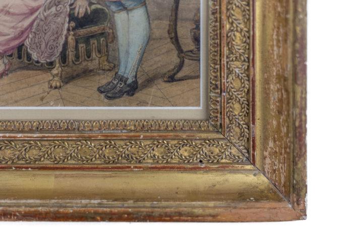 aquarelle bal masqué cadre doré