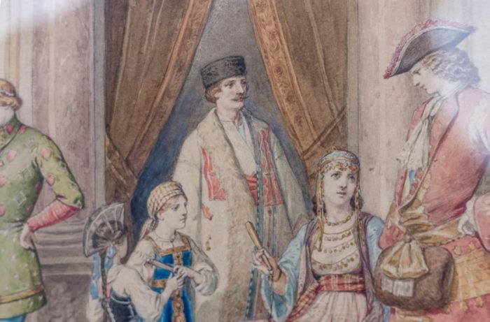 aquarelle bal masqué costumes orientaux et russie