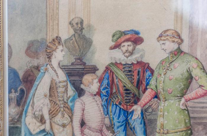 aquarelle bal masqué déguisements différentes périodes